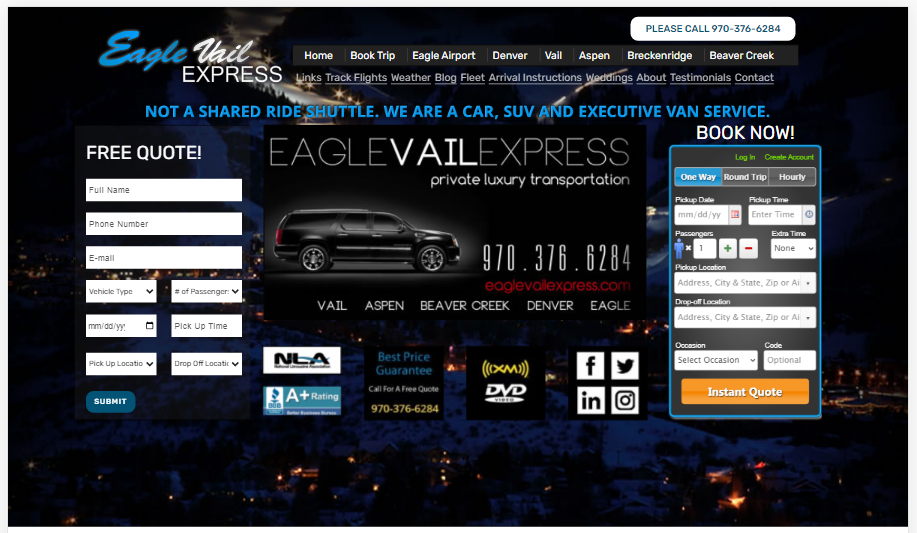 Providing luxury transportation since 2001, Eagle Vail Express is the premier choice for all your Denver to Vail transportation needs.